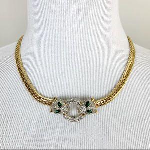 Vintage | Jaguar Jeweled Necklace Gold Chain Retro